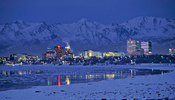 1990, Anchorage, Alaska, USA --- Anchorage at Night --- Image by © Douglas Peebles/CORBIS